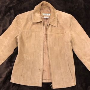Cold water creek leather suede jacket with zip-up